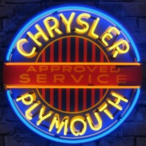 CHRYSLER PLYMOUTH NEON SIGN (60CM ROUND)