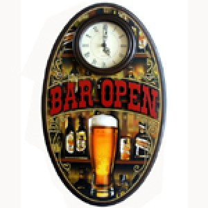 BAR OPEN OVAL WALL CLOCK