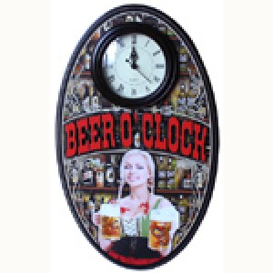 BEER O'CLOCK  OVAL CLOCK