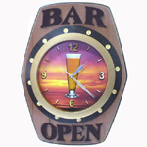 BAR OPEN WALL CLOCK