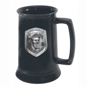 NED KELLY BADGED BLACK BEER TANKARD