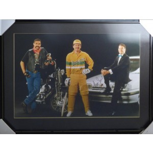 MERV HUGHES, ALLAN BORDER & DEAN JONES SIGNED PHOTO FRAMED