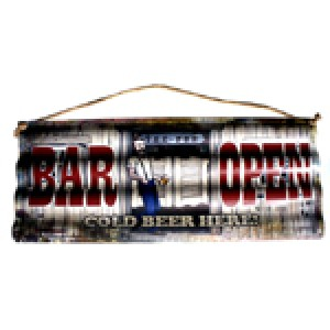 BAR OPEN CORRUGATED TIN SIGN