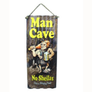 MAN CAVE CORRUGATED TIN SIGN