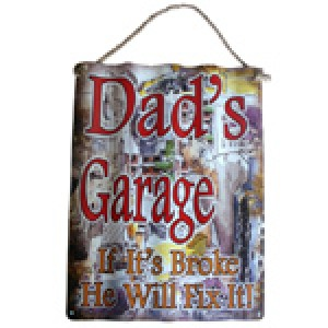 DAD'S GARAGE CORRUGATED TIN SIGN