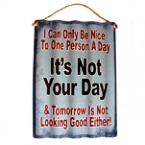 IT'S NOT YOUR DAY CORRUGATED TIN SIGN
