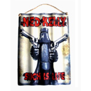 NED KELLY GUNS BLAZING CORRUGATED TIN SIGN