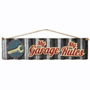 MY GARAGE MY RULES 3D CORRUGATED TIN SIGN