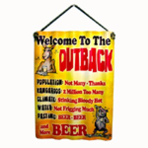 WELCOME TO THE OUTBACK CORRUGATED TIN SIGN