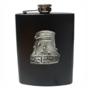 NED KELLY HELMET BADGE MATT BLACK HIP FLASK