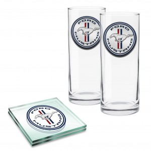 FORD SET OF 2 HIGHBALL GLASSES & 2 GLASS COASTERS