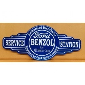 FORD BENZOL SERVICE STATION TIN METAL SIGN