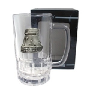 NED KELLY HELMET BADGE BEER GLASS