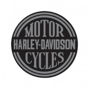 HARLEY DAVIDSON PLATINUM DISC ROUND DIE CUT EMBOSSED TIN SIGN