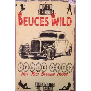"""DEUCES WILD SPEED SHOP"" STEEL SIGN"