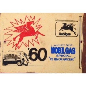 '60 MOBILGAS STEEL SIGN