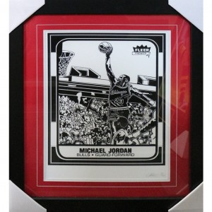 MICHAEL JORDAN BLACK & WHITE FLEER PREMIER PRINT FRAMED