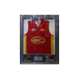 GARY ABLETT GOLD COAST SUNS JERSEY SIGNED - FRAMED