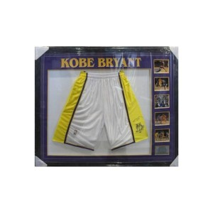 KOBE BRYANT SIGNED LAKERS SHORTS FRAMED