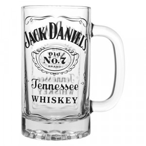 JACK DANIEL'S FULL LABEL GLASS STEIN