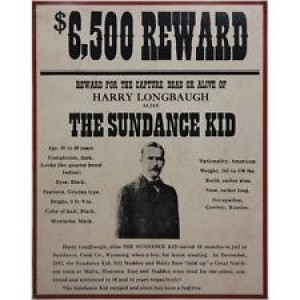 THE SUNDANCE KID FRAMED WANTED POSTER