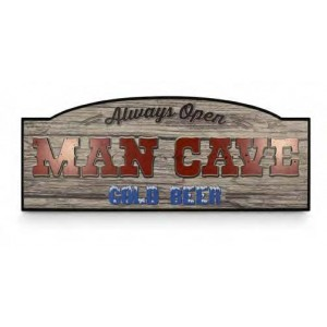 ALWAYS OPEN MAN CAVE TIMBER SIGN