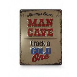 MAN CAVE CRACK A COLD ONE TIN SIGN