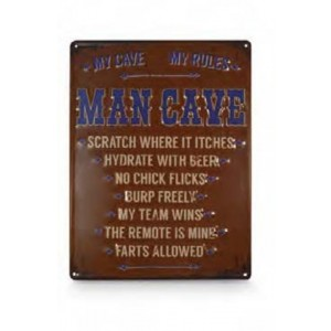 MY CAVE, MY RULES, MAN CAVE TIN SIGN