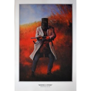 NED KELLY MAKING A STAND FRAMED PRINT