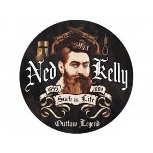 NED KELLY ROUND TIN SIGN