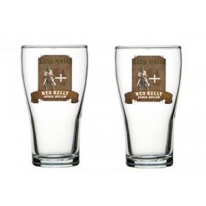 NED KELLY AUSSIE OUTLAW SET OF 2 SCHOONER GLASSES