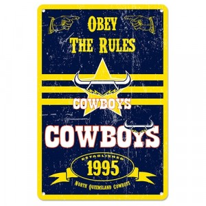 NRL COWBOYS RETRO TIN SIGN