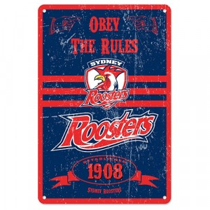 NRL ROOSTERS RETRO TIN SIGN