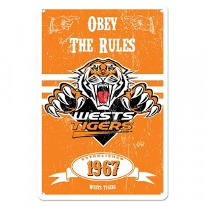 NRL WESTS TIGERS RETRO TIN SIGN