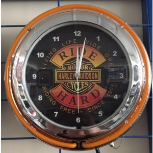 HARLEY DAVIDSON RIDE HARD DOUBLE NEON WALL CLOCK
