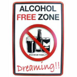 ALCOHOL FREE ZONE DREAMING ROAD SIGN