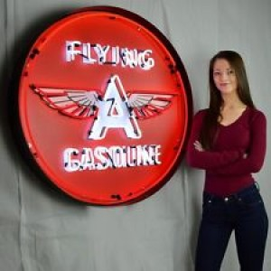 "FLYING A GASOLINE NEON SIGN - 90CM (36"") ROUND"