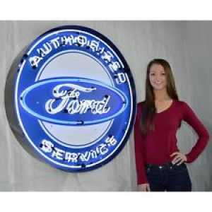 "AUTHORIZED FORD SERVICE NEON SIGN - 90CM (36"") ROUND"