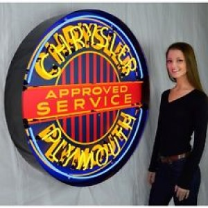 """CHRYSLER PLYMOUTH NEON SIGN - 90CM (36"""") ROUND"""