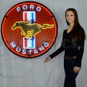 "FORD MUSTANG NEON SIGN - 90CM (36"") ROUND"