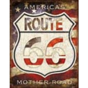 ROUTE 66 AMERICA'S MOTHER ROAD TIN SIGN