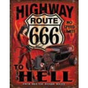 HIGHWAY TO HELL ROUTE 666 TIN SIGN
