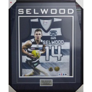 JOEL SELWOOD SIGNED GEELONG CATS JUMPER FRAMED