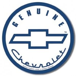 CHEVROLET GENUINE ROUND TIN SIGN