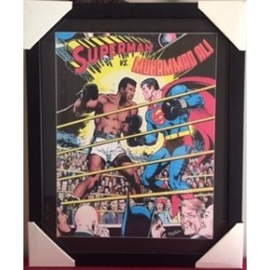 SUPERMAN VS MUHAMMAD ALI COMIC FRAMED PRINT