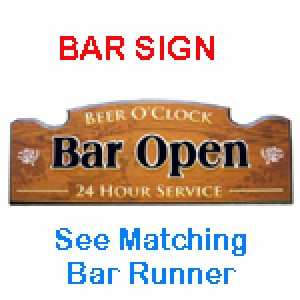 BEER O'CLOCK BAR OPEN 24 HOUR SERVICE TIMBER SIGN