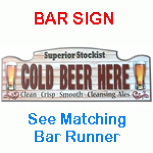 COLD BEER HERE TIMBER SIGN